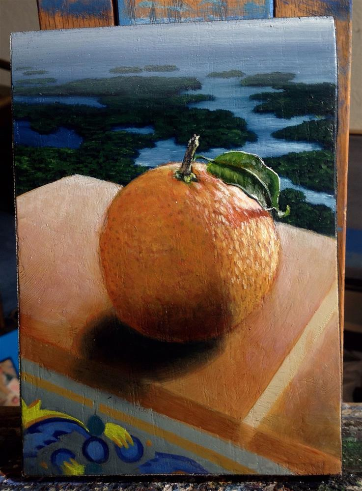 """Orange contemplating… Work in progress Oil on panel 5×7 still life"" original fine art by Paulo Jimenez"