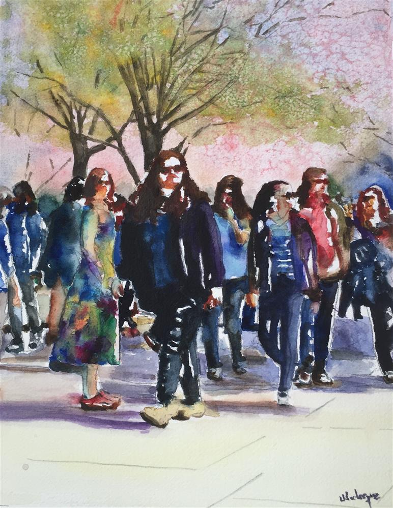 """Walking in the Park"" original fine art by Juan Velasquez"