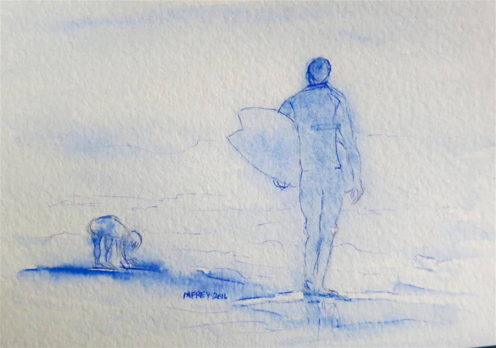 """Surfer & Boy 093"" original fine art by Michelina Frey"