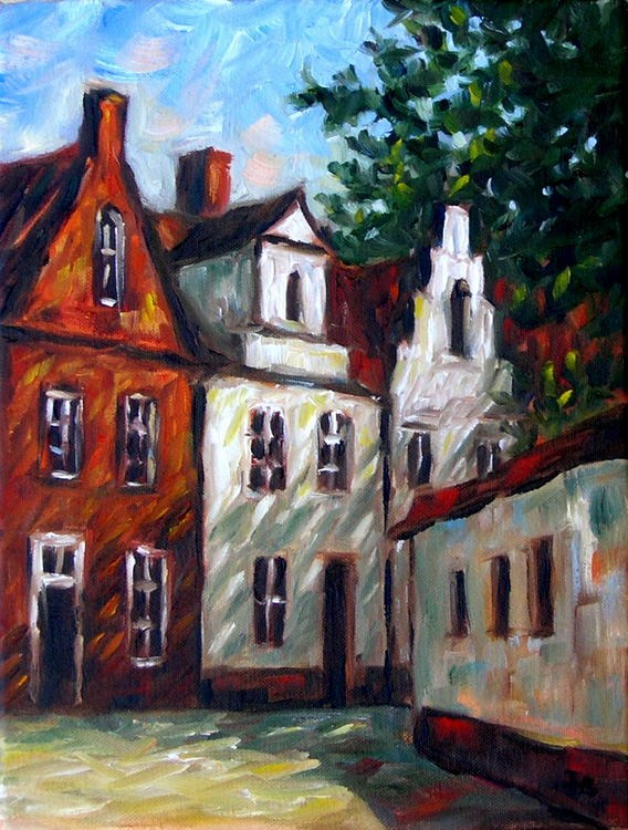 """Sunny Day in Bruges"" original fine art by Irina Beskina"