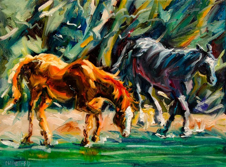 """ARTOUTWEST OIL PAINTING Horse stream Animal Art by Diane Whitehead"" original fine art by Diane Whitehead"