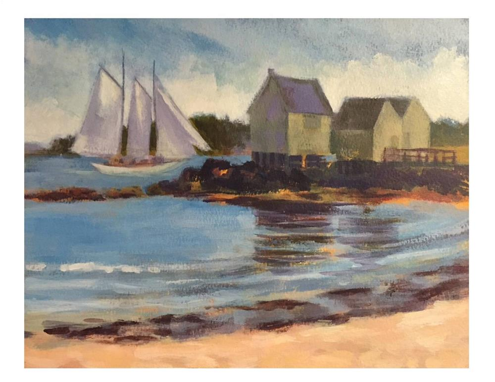 """Willard Shacks And Sailboat"" original fine art by Suzanne Woodward"