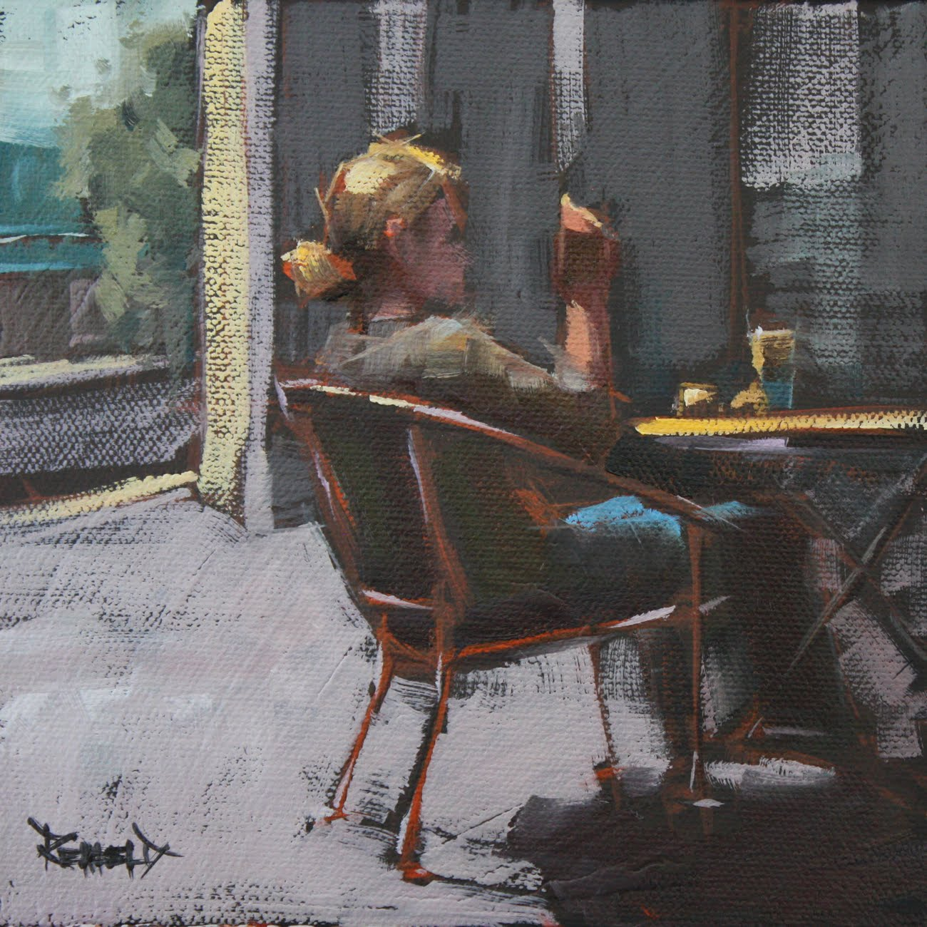 """People Watching"" original fine art by Cathleen Rehfeld"