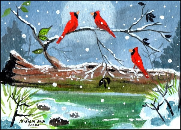 """Cardinals on a Tree Stump"" original fine art by Patricia Ann Rizzo"