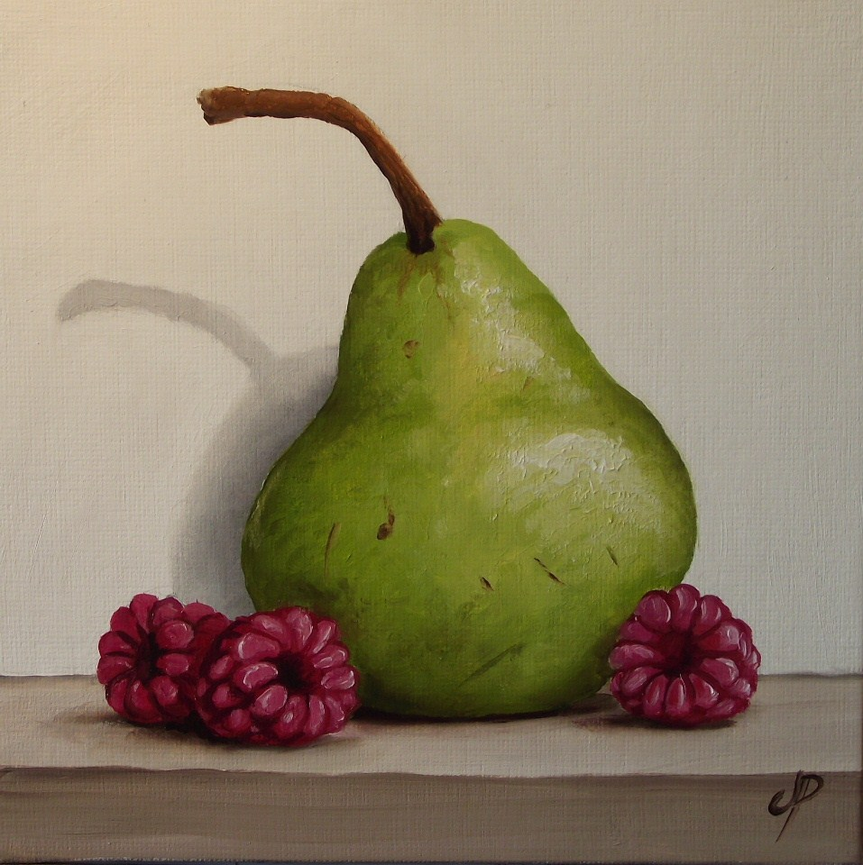 """Pear & Raspberry"" original fine art by Jane Palmer"