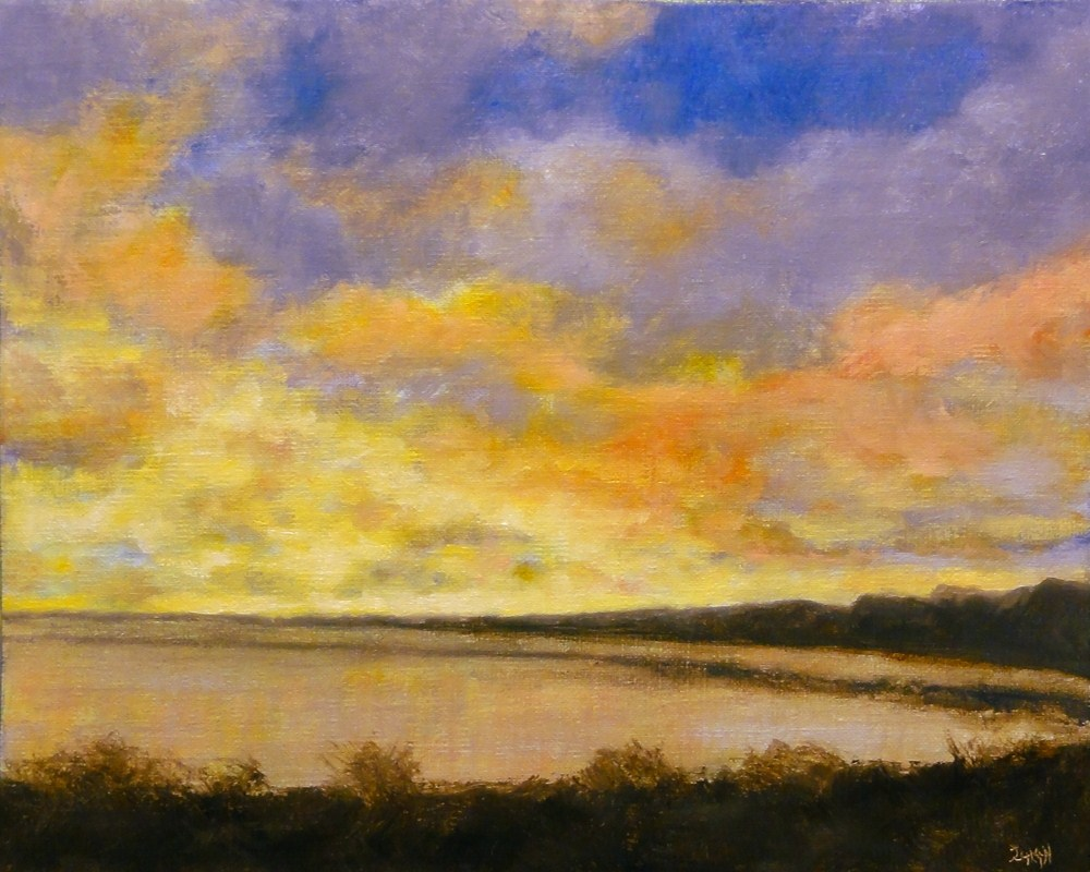 """Sunrise Over The Water"" original fine art by Dalan Wells"