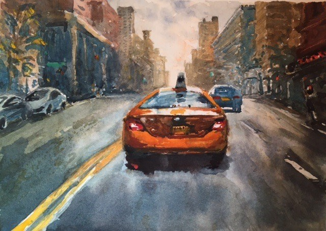 """""""Early Sunday Morning West 95th St. NYC"""" original fine art by Laurie Maher"""