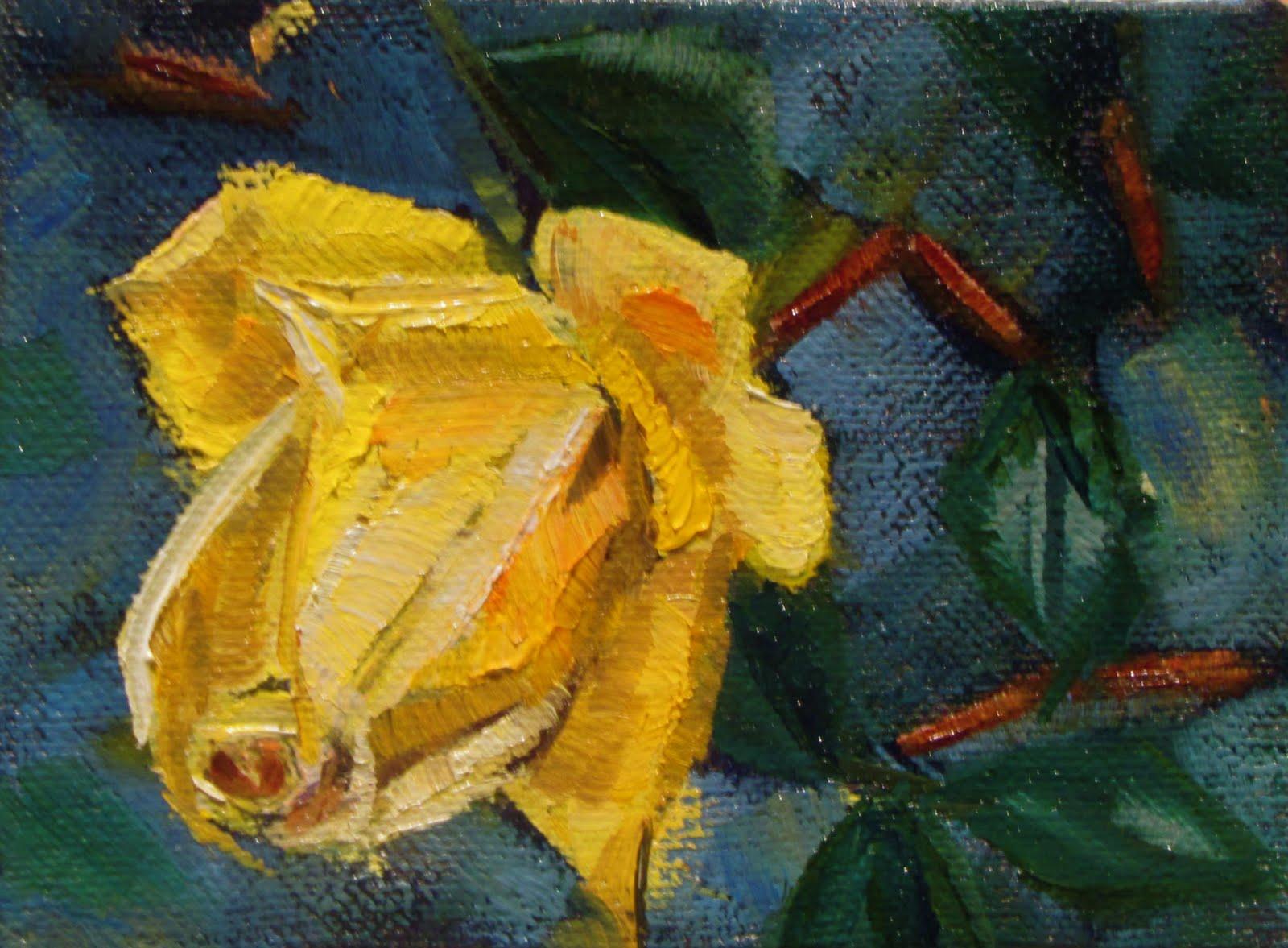 "Mini-rose   2""x3""  oil floral  #356 original fine art by Christine Holzschuh"