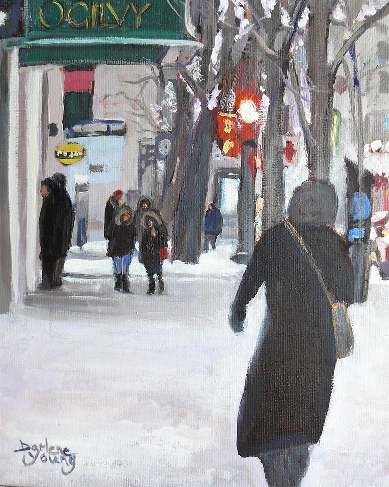"""979 Montreal Street Scene, Ogilvy, 8x10 oil on board"" original fine art by Darlene Young"