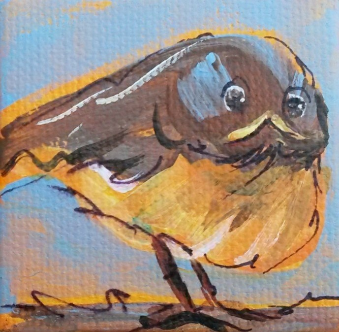 """Itty Bitty Baby Robin"" original fine art by Terri Einer"