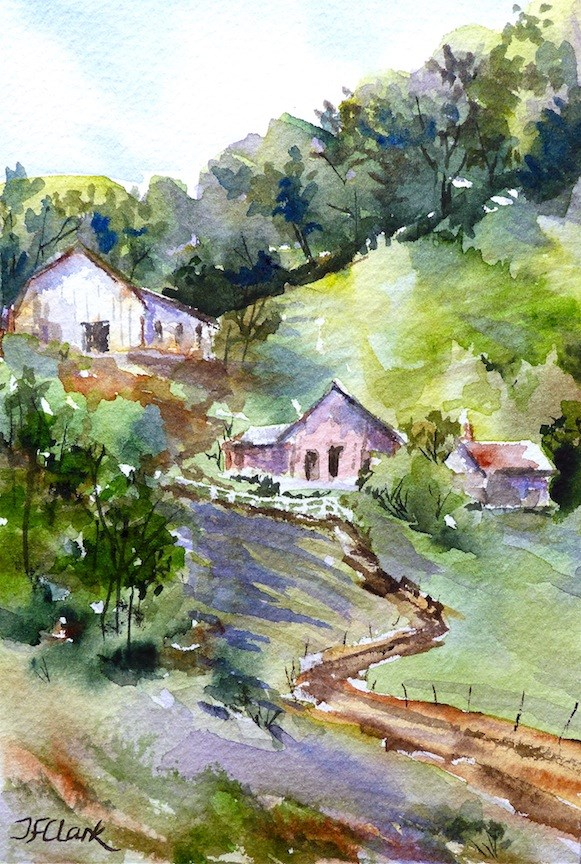 """Mountain Farm, study"" original fine art by Judith Freeman Clark"
