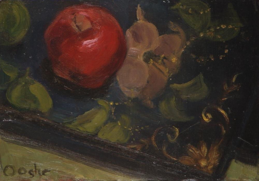 """Apple on a Painted Tray"" original fine art by Angela Ooghe"