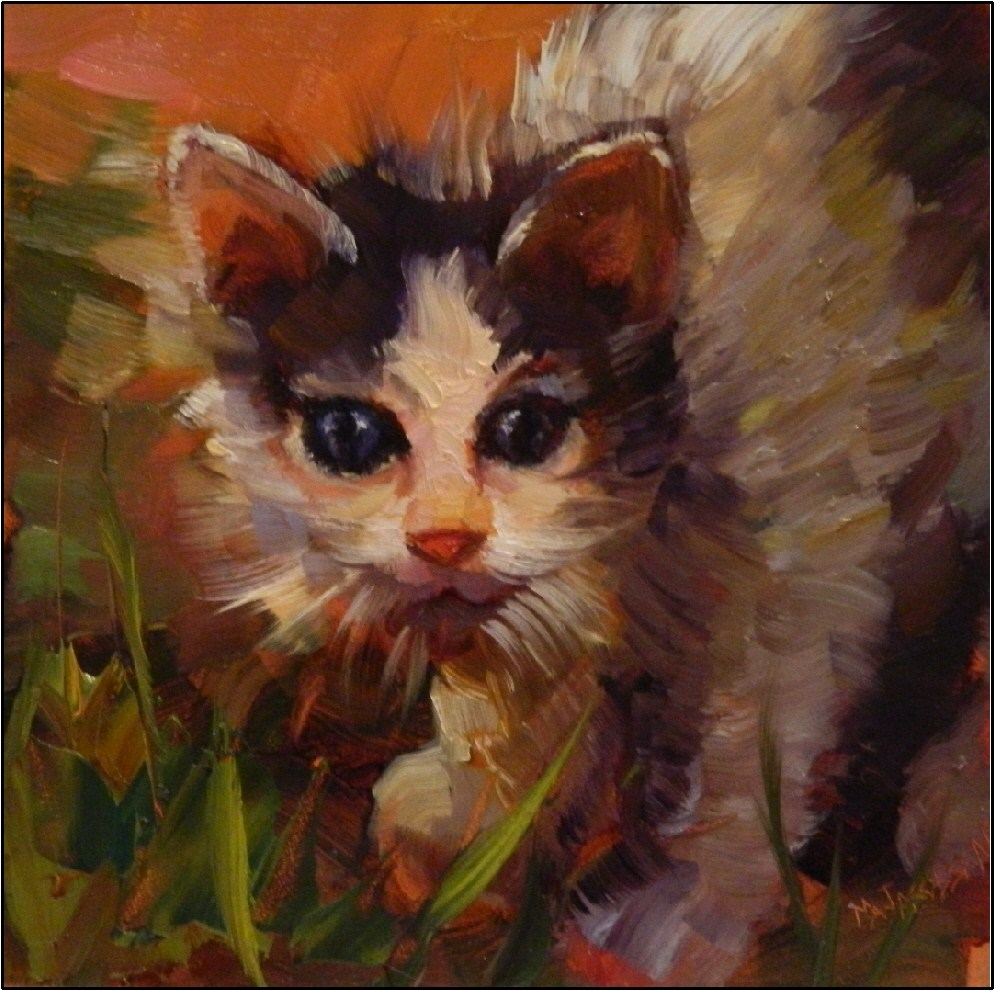 """Looking for Catnip, 6x6, oil on panel, paintings of kittens, little cats, animal portraits"" original fine art by Maryanne Jacobsen"