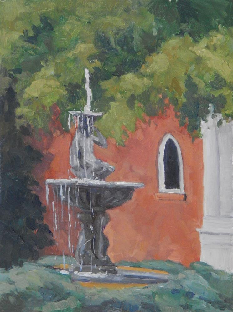 """Courtyard Fountain"" original fine art by Lisa Kyle"