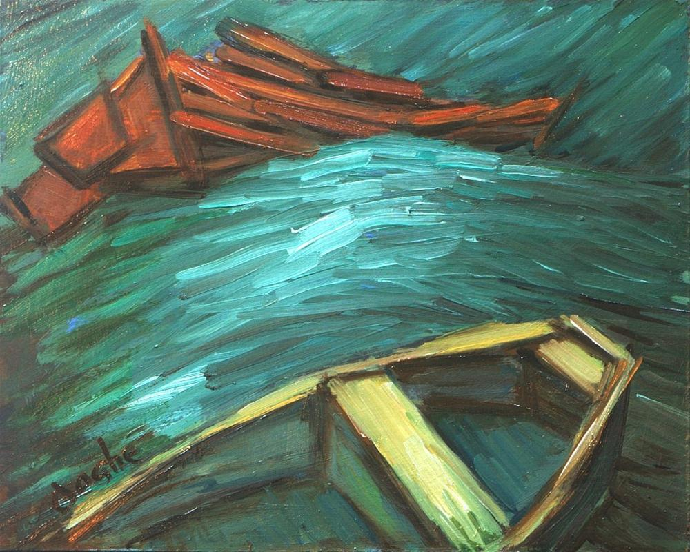 """Small boats on Rolling Waves"" original fine art by Angela Ooghe"