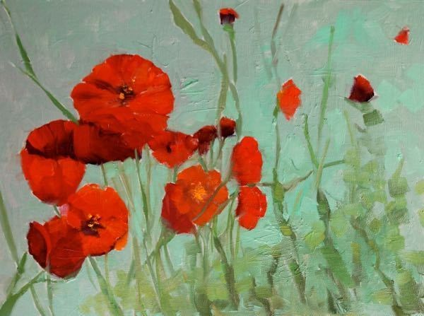 """Landscape Oil Painting, Red Poppies, Poppy Field Poppy Family by Colorado Artist Susan Fowler"" original fine art by Susan Fowler"