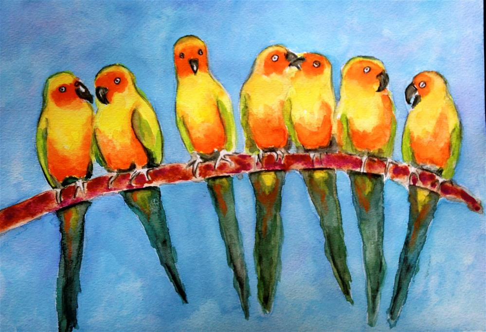 """Sun Conures"" original fine art by Barbara Beckmann"