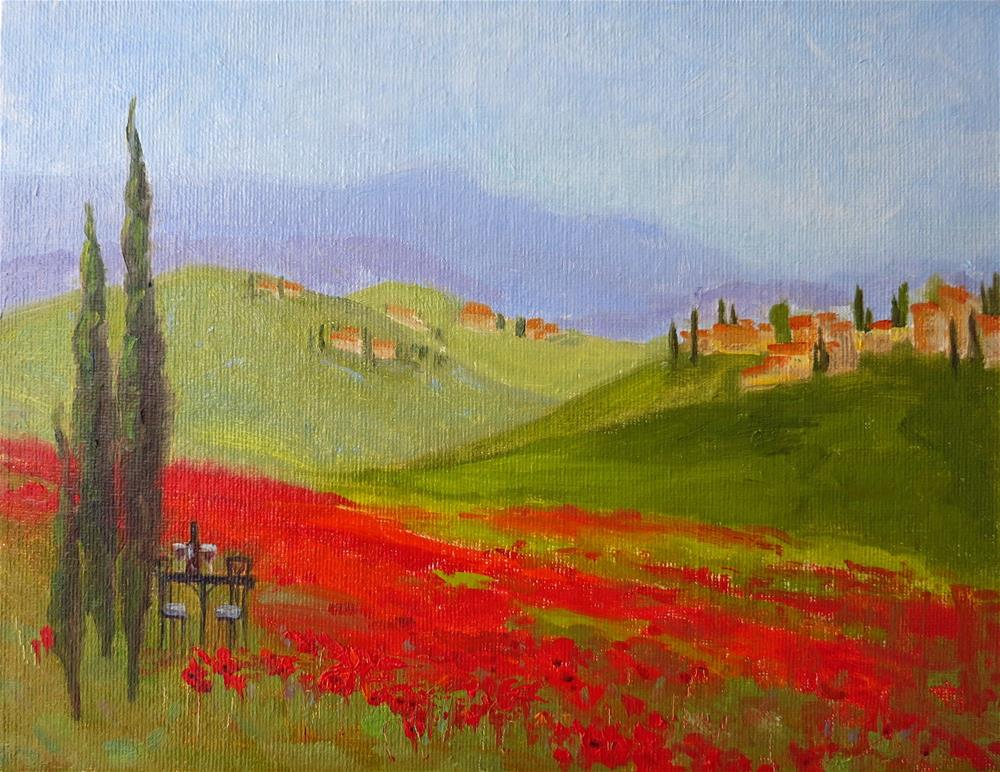 """Tuscany Poppy Field"" original fine art by Elena Balekha"