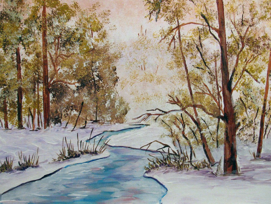 """Frozen Stream"" original fine art by Nan Johnson"