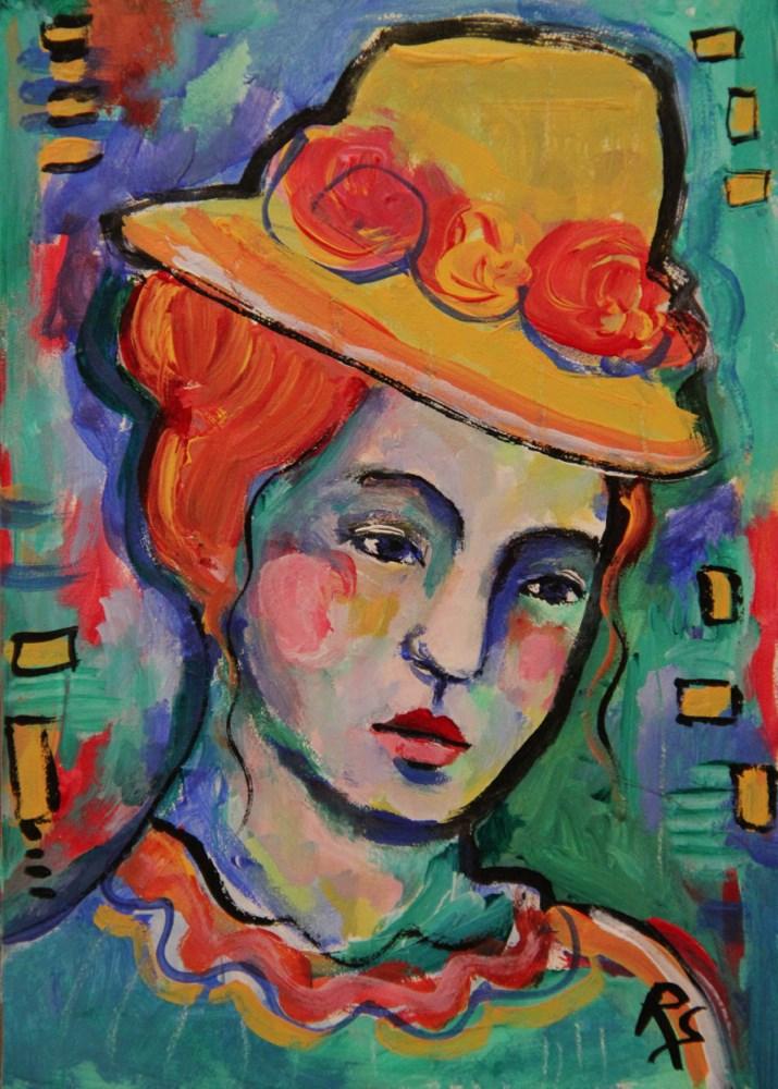 """""""Le Chapeau a Fleurs"""" original fine art by Roberta Schmidt"""