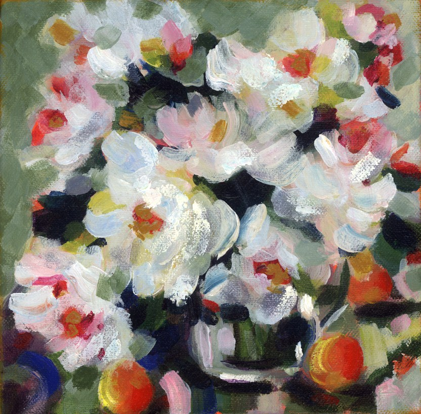 """White Roses"" original fine art by Pamela Gatens"