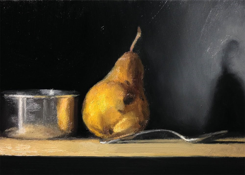 """Measuring Cup and Pear"" original fine art by Chris Beaven"