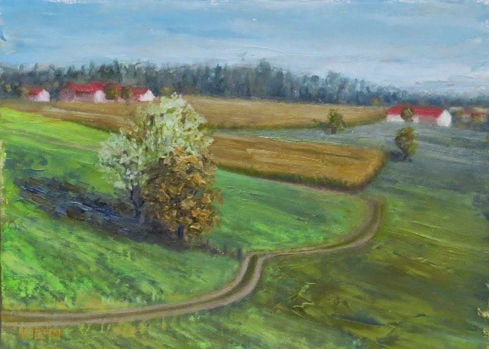 """Bavarian Farmland"" original fine art by Richard Kiehn"