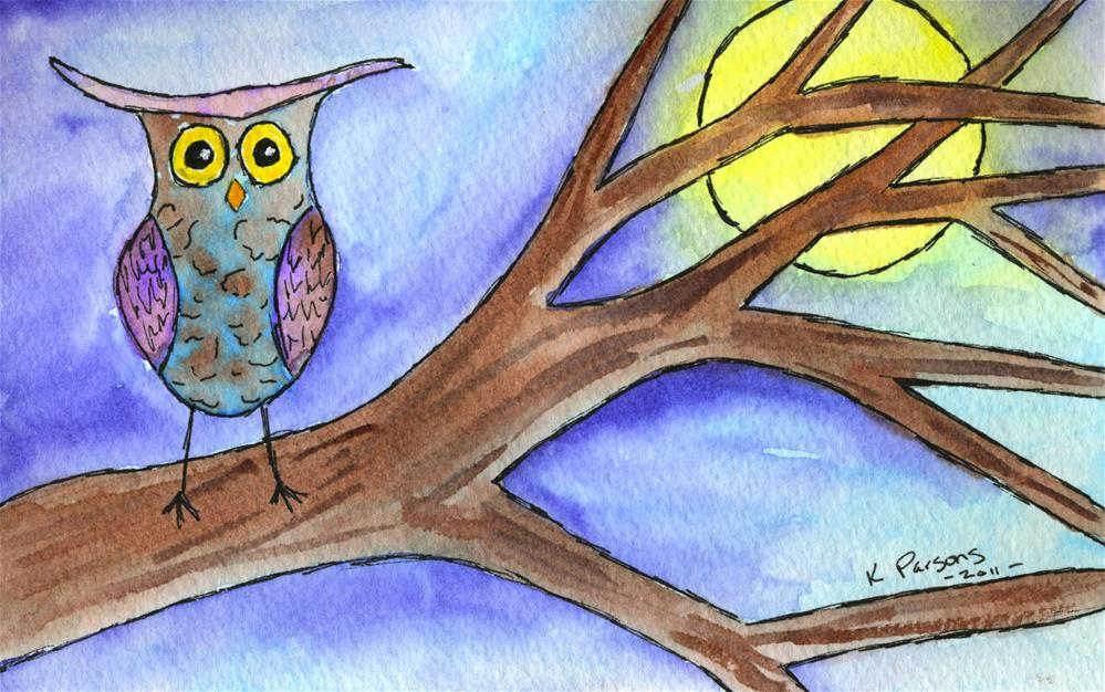"""Hoots the Owl"" original fine art by Kali Parsons"