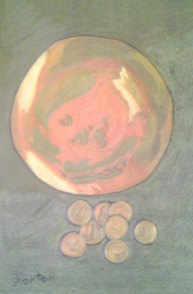 """Copper Dish and Pennies - Copper Challenge"" original fine art by Elaine Shortall"