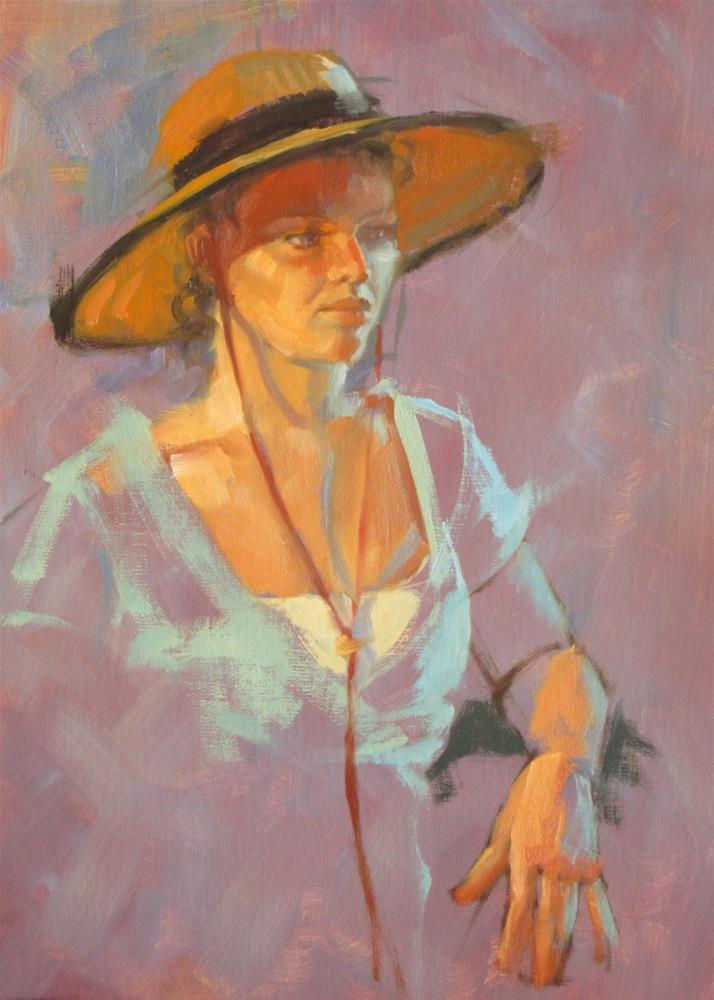 """Velvet trimmed hat  14 x 11  oil"" original fine art by Claudia Hammer"