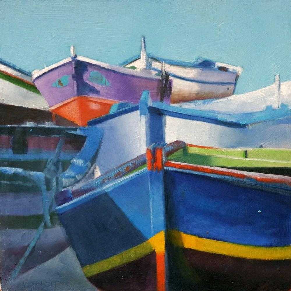 """""""Cascade of Fishing boats"""" original fine art by Cathy Holtom"""