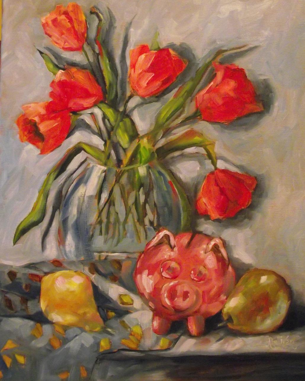 """Those Wide Eyed Piggy Banks"" original fine art by Angela Sullivan"