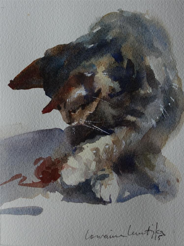 """Involved Cat"" original fine art by Lorraine Lewitzka"