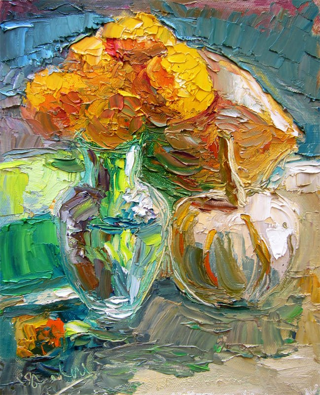 """Marigolds, Acorn Squash, Pumpkin 2"" original fine art by Carol Steinberg"