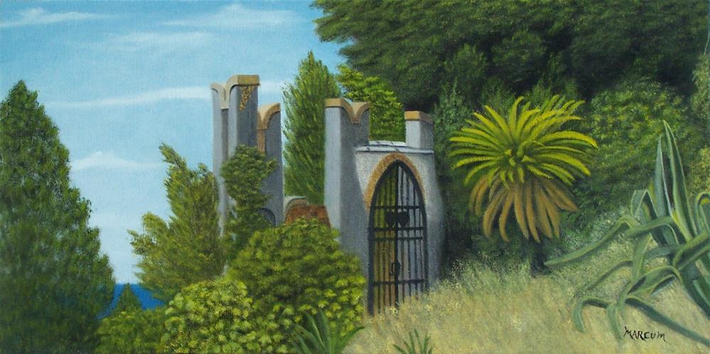 """Italian Garden Scene"" original fine art by John Marcum"