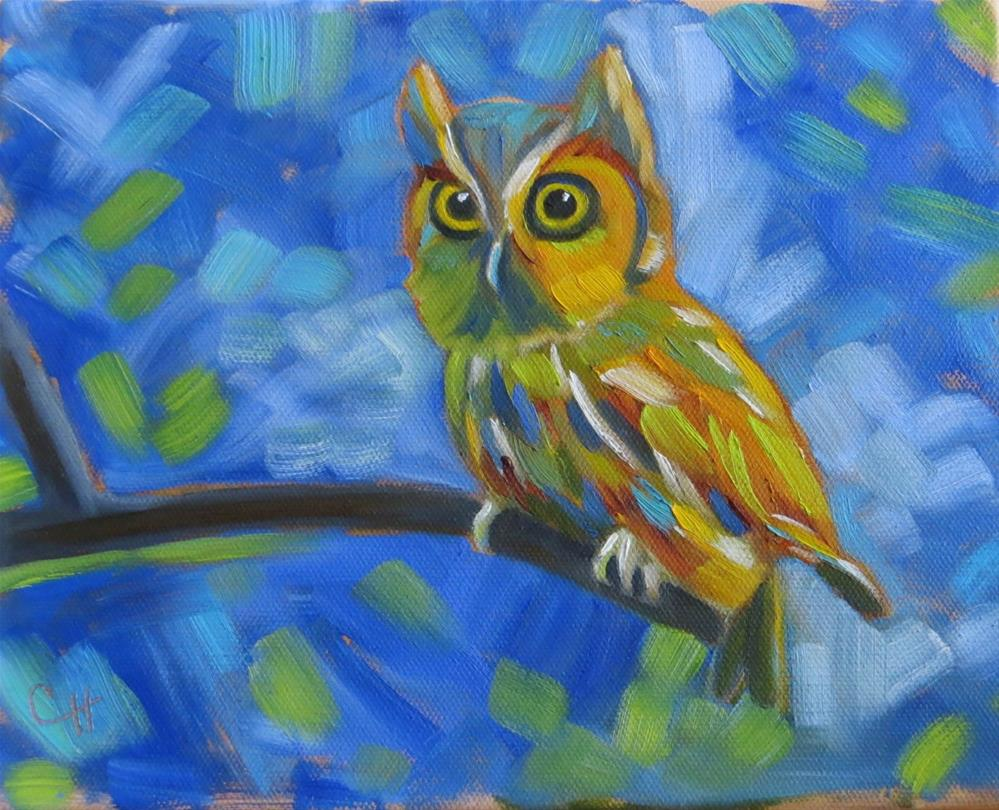 """""""Owl on Blue"""" original fine art by Claire Henning"""