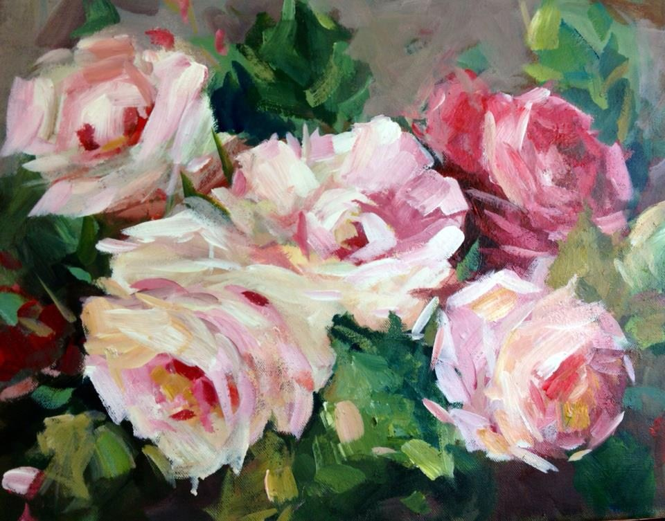 """roses for my valentine"" original fine art by Parastoo Ganjei"