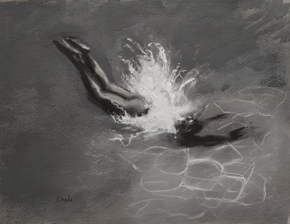 """Black and White Diver"" original fine art by Angela Ooghe"
