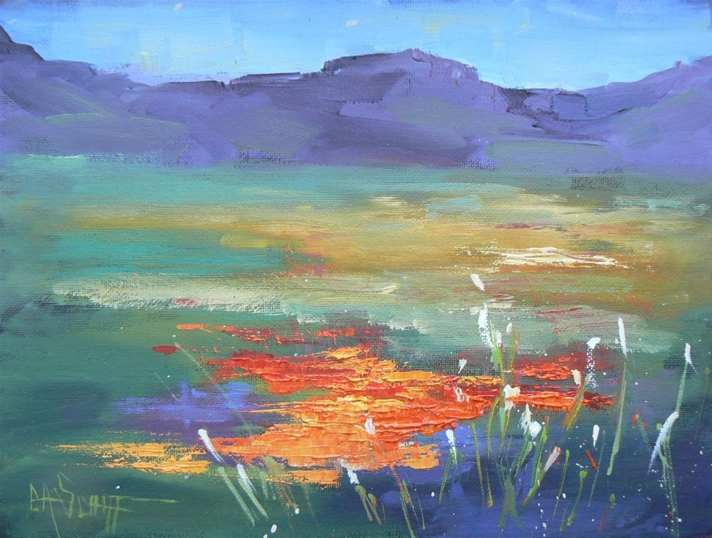 """Daily Painting, Landscape, Mountain Majesty 6x8"" original fine art by Carol Schiff"