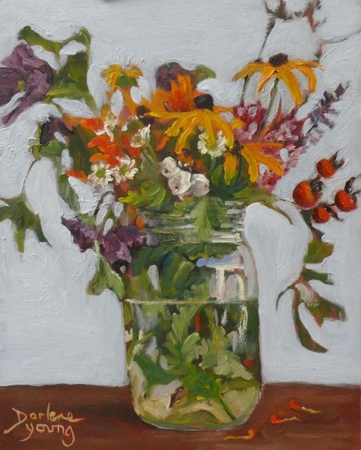 """""""953 Sidewalk Beauties, 11x14, oil on board"""" original fine art by Darlene Young"""
