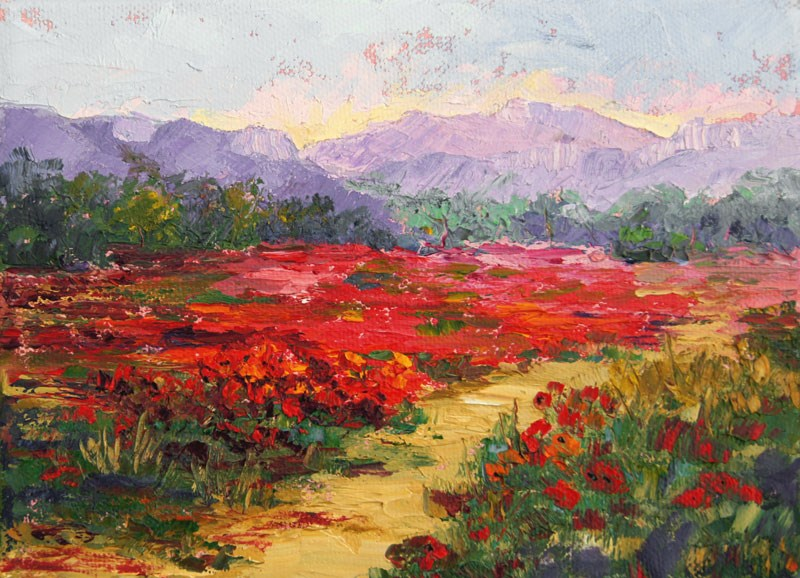 """Provence Poppies Galore Palette Knife Paintngi"" original fine art by Marion Hedger"