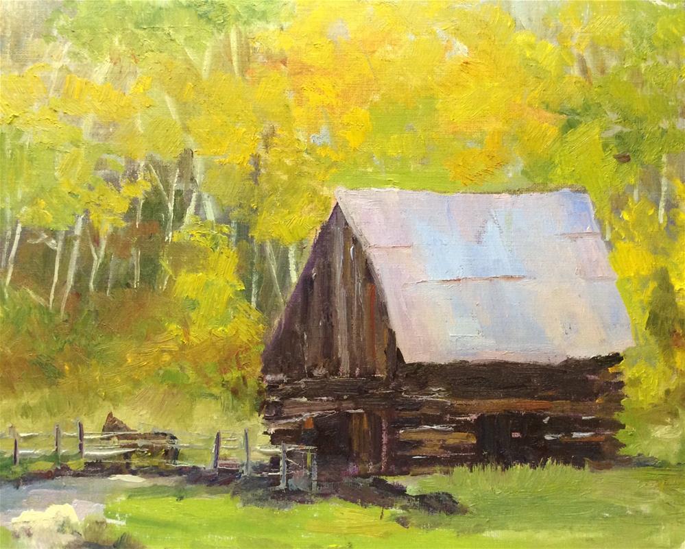 """Cabin in the Aspens"" original fine art by Debbie Dowdle"