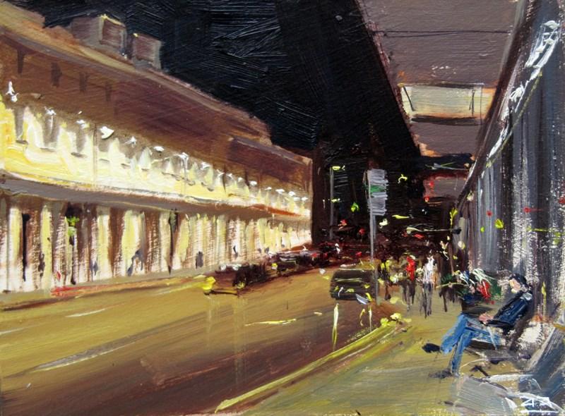 """City of Bath Nocturne 5"" original fine art by Adebanji Alade"