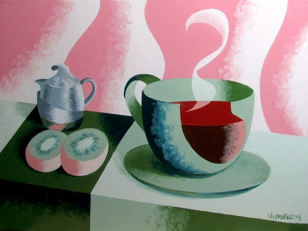 """Mark Adam Webster - Abstract Geometric Coffee Cup with Kiwis Oil Painting"" original fine art by Mark Webster"