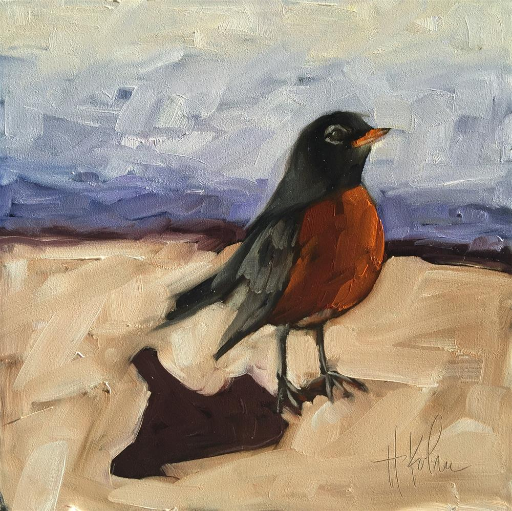 """Robin at the Door"" original fine art by Hallie Kohn"