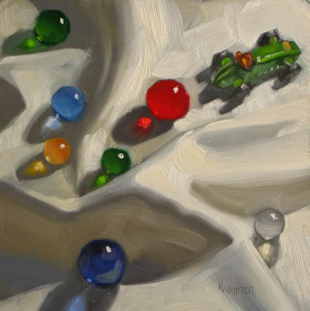 """The Gang heads East  6 x 6  oil"" original fine art by Claudia Hammer"