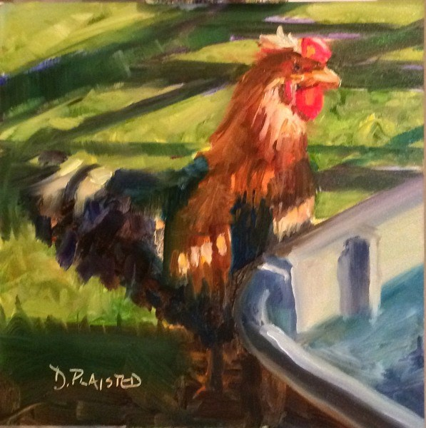 """""""Rooster"""" original fine art by Diane Plaisted"""