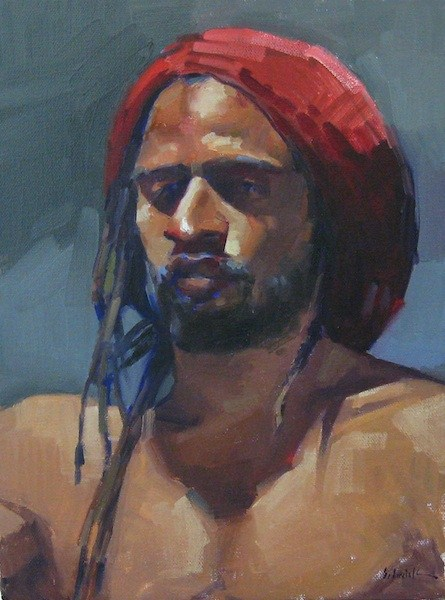 """The Red Rasta male nude figure painting portrait original oil on canvas"" original fine art by Sarah Sedwick"