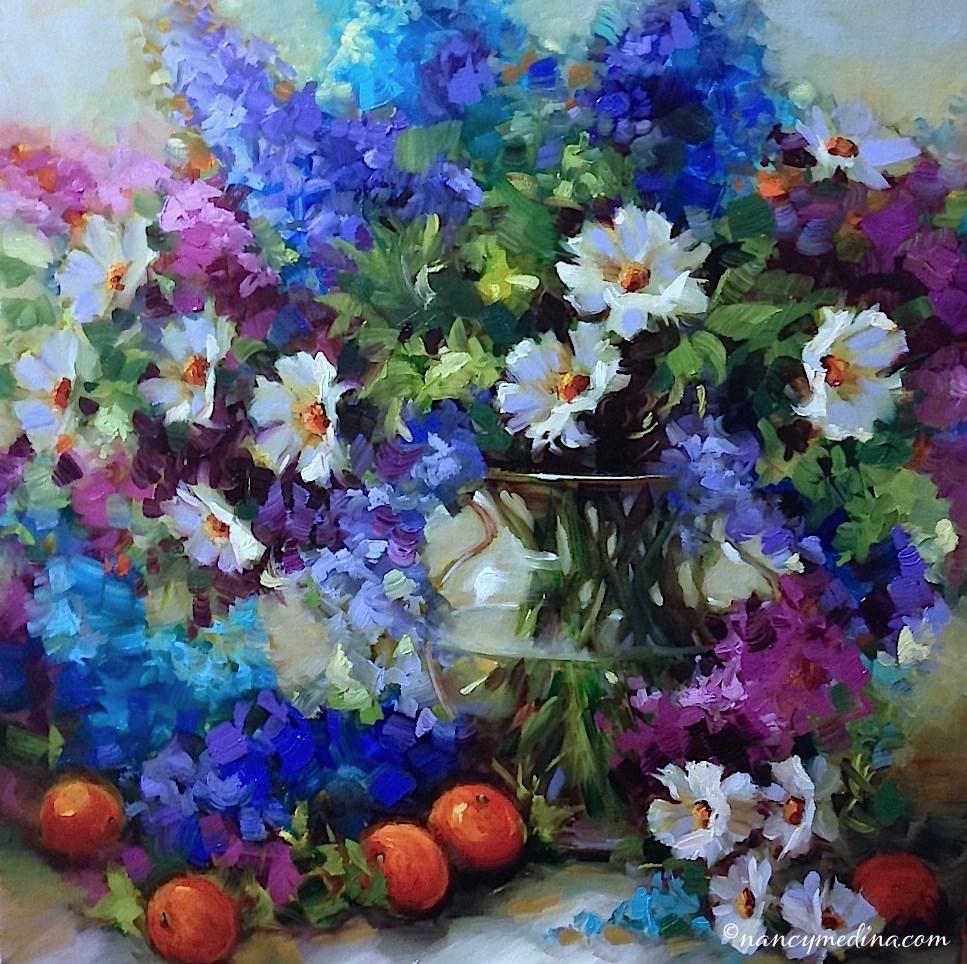 """32,000 Thankyous ~ Abundance Delphiniums ~ Nancy Medina Art Videos and Classes"" original fine art by Nancy Medina"