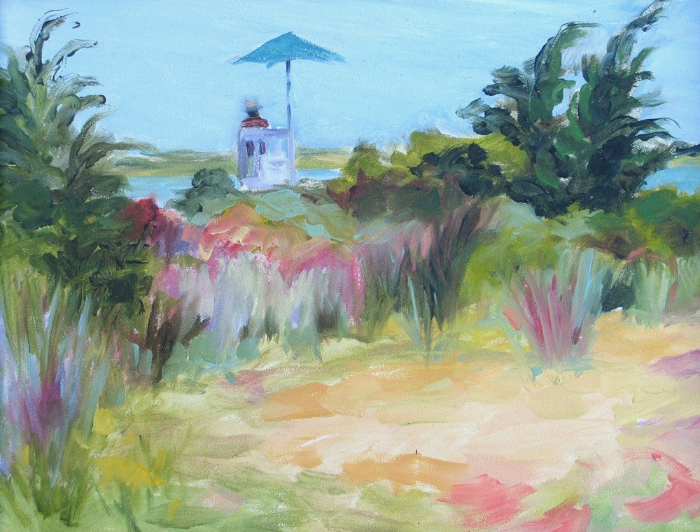 "Framed ""To the Lifeguard Station"" original fine art by Lynne Schulte"